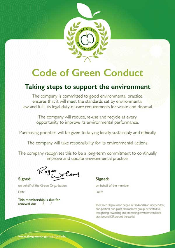 Code of Green conduct certificate